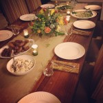 One our grilled feasts - brats, salads, grilled veggies and lots of wine